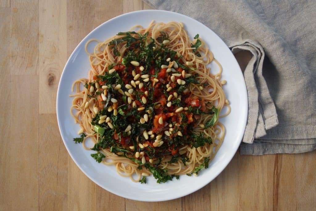 Maris spicy pasta med grønnkål